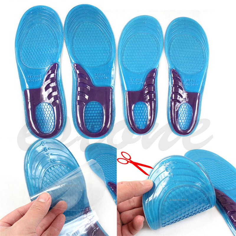 1 Pair Unisex Orthotic Arch Support Sport Shoe Gel Massaging Insole Run Pad Blue Color Silica gel Shoe Accessories Fashion damask silica gel mold