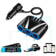 Adaptador de corriente Universal para coche 12V-24V, 3 enchufes, encendedor de cigarrillos, 3 puertos, Cargador USB, para iPhone, iPad, DVR, GPS