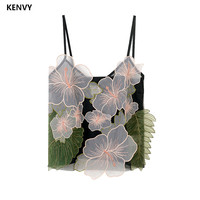 KENVY Brand Fashion Women High end Luxury Summer Sexy Lace Flowers Wild Slim Strap Camis Tank Tops Heart