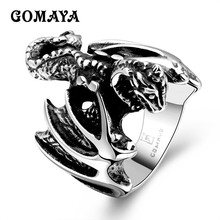 GOMAYA Mens Rings Animal Dinosaur Style Vintage Retro Anillos Unisex Gift for Men Classic Hip hop Rock Jewelry