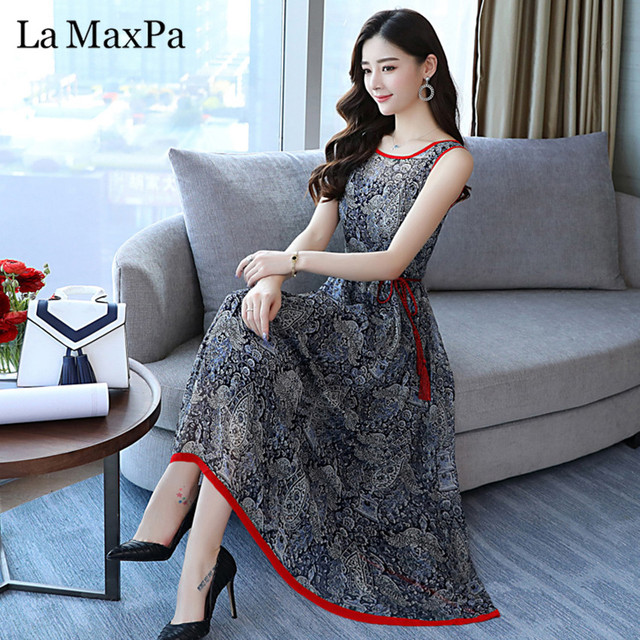 98ccecfa59e9 2018 Summer Elegant Floral Boho Dress Vintage Women Midi sundress Plus Size  Party Sexy Maxi Dresses Beach Casual Long Vestidos