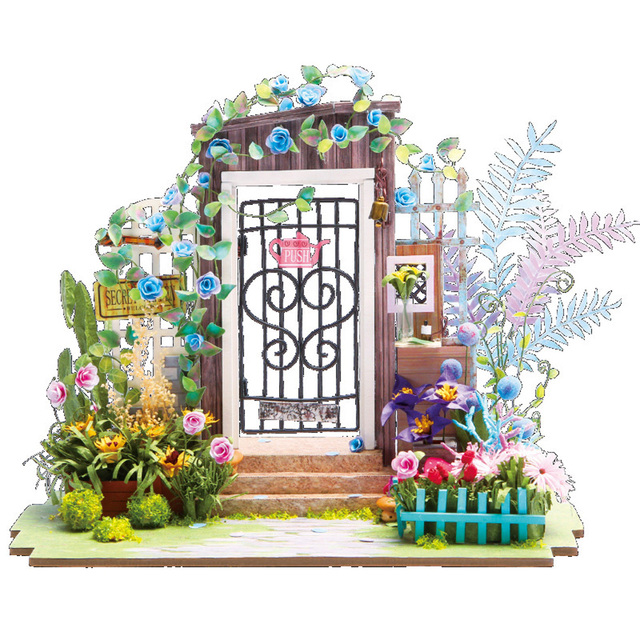 DIY Wooden Toy Miniature Secret Door Dollhouse Garden Mini Kit With LED  Light Gift For Kids