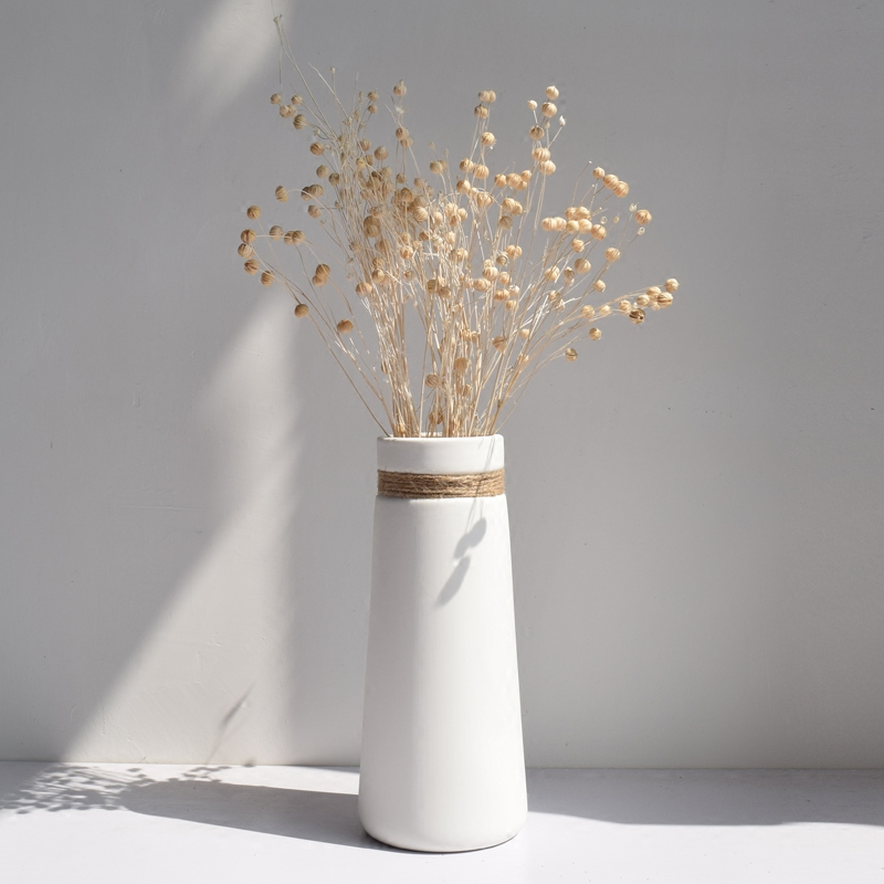 Simple modern living room home decoration creative Decoration white hemp rope ceramic art water culture inserted dry flower vase