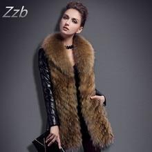 Women's fur coat large raccoon fur slim medium-long down coat leather fur clothing Luxury Outerwear Snowsuit Long Sleeve Jacket