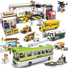 Sale!! City Wheels On Meals garage garbage truck Enlighten children toys oil tank truck school bus Building Bricks Block Sets
