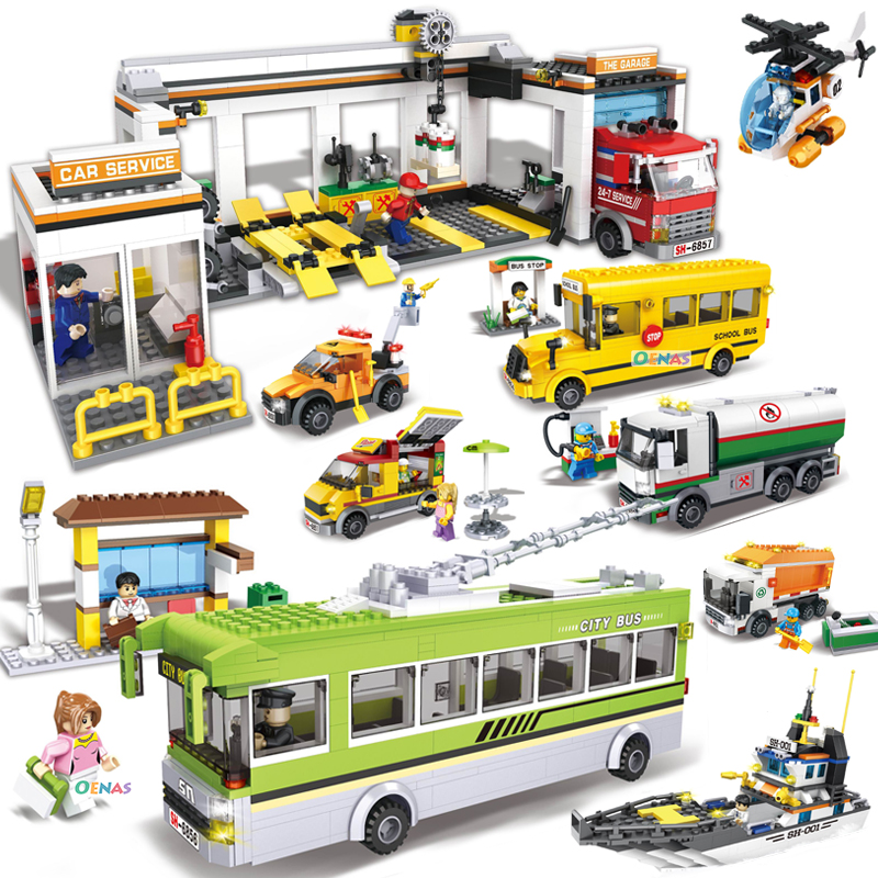 Sale!! City Wheels On Meals garage garbage truck Enlighten children toys oil tank truck school bus Building Bricks Block Sets цена