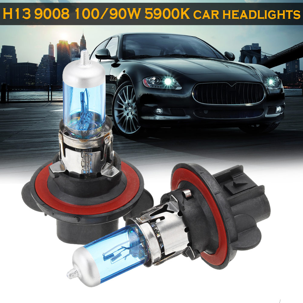New 1 Pair H13 9008 100/90W 5900K Super White High Low Beam Headlight Light Bulbs CSL2018