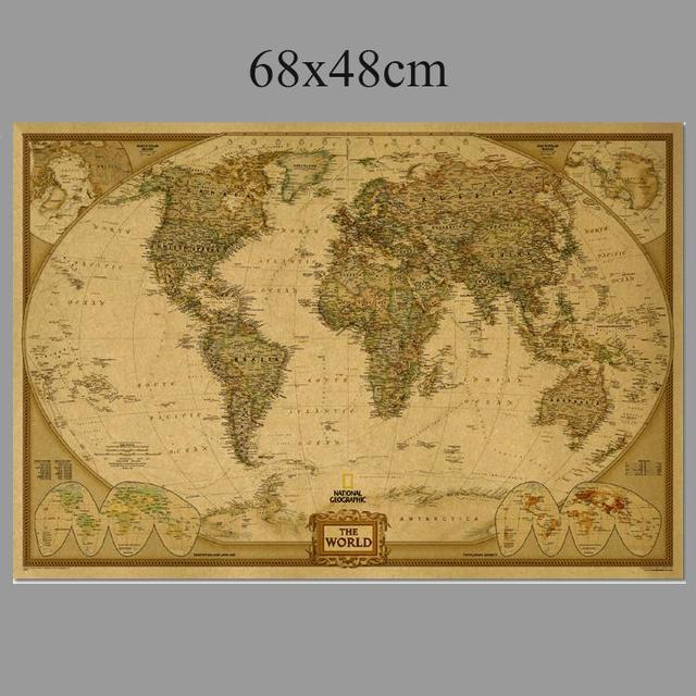 Vintage World map ancient Paper Movie Poster Retro Living Room Wall ...