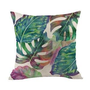 Image 5 - Zielony las poszewka na poduszkę wygodne tkaniny tropikalnych roślin poliester poszewka na poduszkę sofa rzucanie pad zestaw do dekoracji wnętrz 2019 Hot
