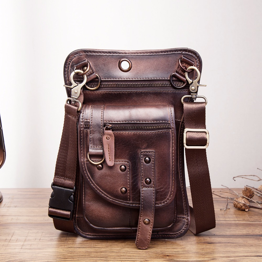 Original Leather Multifunction Men Travel Shoulder Crossbody Messenger Bag Hook Belt Waist Pack Drop Leg Phone Case Bag 2141-c