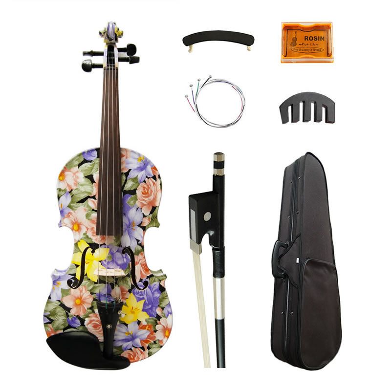 High Quality Flowers Painted Art Violin 4/4 High-grade Ebony Fittings Maple Acoustic Violino Strings Music Instruments free shipping 4 4 size 430c pernambuco cello bow high quality ebony frog with shield pattern white hair violin parts accessories