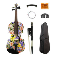 High Quality Flowers Painted Art Violin 4 4 High Grade Ebony Fittings Maple Acoustic Violino Strings