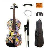 High Quality Flowers Painted Art Violin 4 4 High Grade Ebony Fittings Maple Acoustic Violino Strings