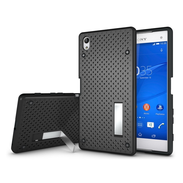 new product b00a7 38d3d US $5.99 |Case for Sony Z5 Ultra , Premium TPU+PC Hybrid Slim Net Stand  Back Cover Phone Case for Sony Xperia Z5 Premium Z5 Plus 5.5inch on ...