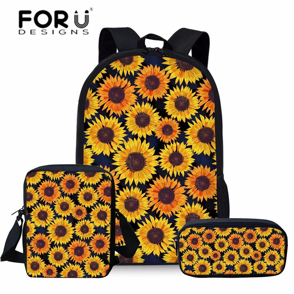 FORUDESIGNS Girls Floral School Bags For Kids 3pcs/set School Bag Children Sunflower Printing Primary School Bookbag Student Bag