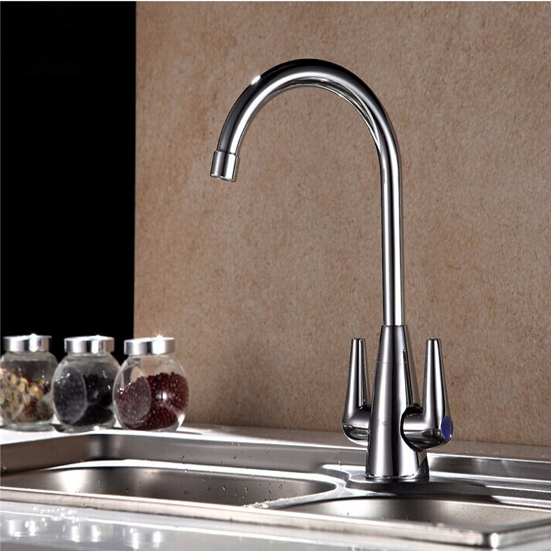 Xueqin Double Switch Copper Kitchen Cold Hot Mix Faucet Sink Mixer Tap With Stainless Steel Braided
