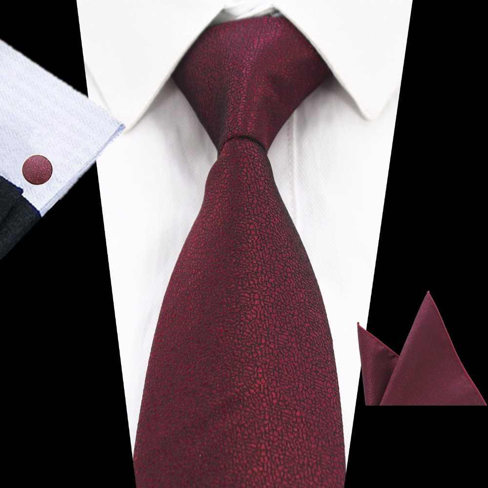 Gusleson marca nova cor sólida gravata conjunto 8cm preto verde gravata gravata bolso quadrado paisley seda gravata lenço abotoaduras