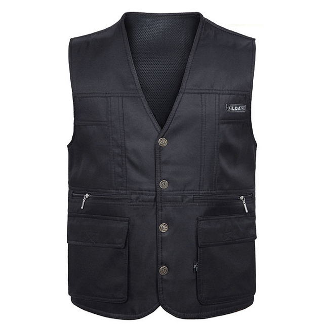 Summer New Men Vest for Shooting Causal 100% Cotton Vest Multi-pockets Mesh Vest Photographer Reporter Vest