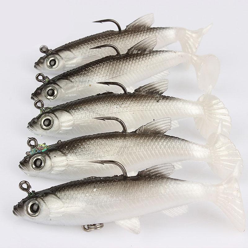 5pcs 8cm soft bait lead head head fish lures bass for Bass fishing hooks