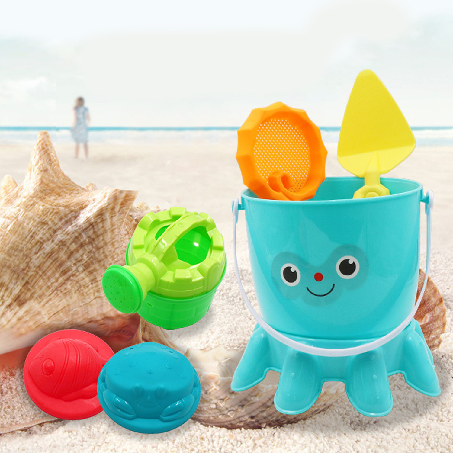 6pcs Funny Beach Sand Game Toys Kit Kids Pretend Role Play Toy Playset Including Shovels Bucket Watering Pot Sand Model