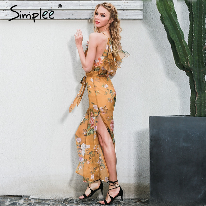 Enkelt sexigt V-halsduk blommatröm jumpsuit romper - Damkläder - Foto 3