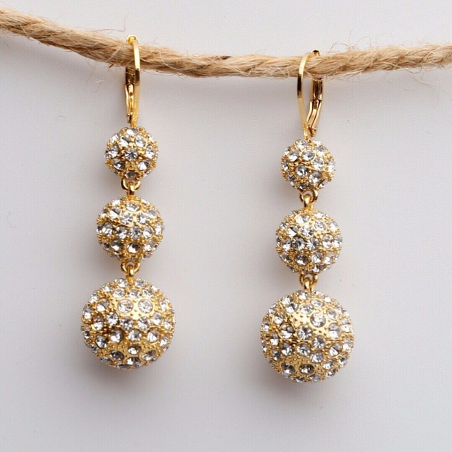 2018 New Celi Temperament Three Crystal Copper Ball Plated 24K Gold Fashion Simple Hook long dangle women Earrings with cz stone