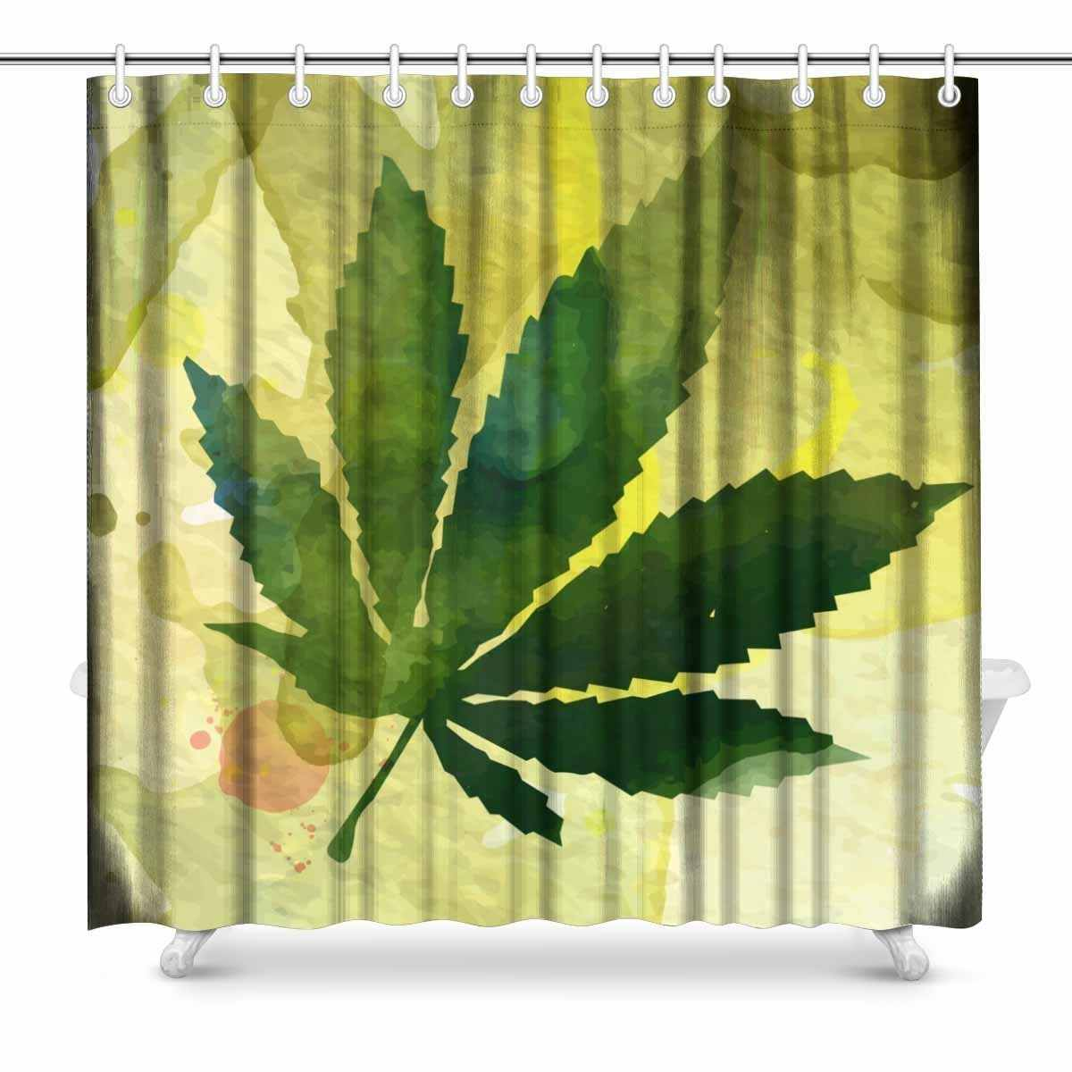 Aplysia Marijuana Leaf On The Old Watercolor Paper Background Print Polyester Fabric Shower Curtain 72 X 72 Inches