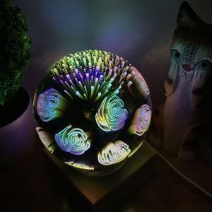 Image 4 - 3D magiczne z kulami kryształowymi lampka nocna kolorowe lampy stołowe USB Power Butterfly Snowflake Universe Rose Lover Home prezenty dla dzieci