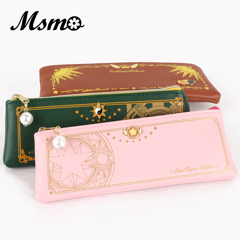 MSMO Anime CardCaptor Sakura Cosplay The Clow Long Zip Coin Purses Kinomoto Sakura Clow Card Wallet Purse anime cosplay card captor kinomoto sakura jk school cosplay costume girls uniforms costumes coat shirt skirt