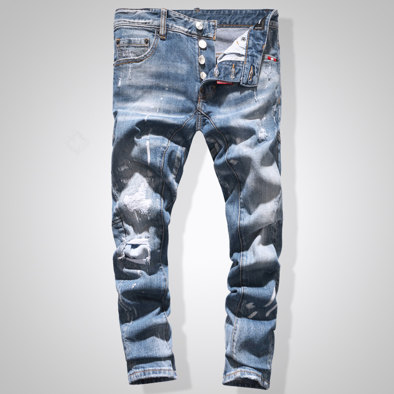 European American Style Fashion men hole   jeans   famous brand straight zipper slim brand light blue   jeans   Pencil Pants for men