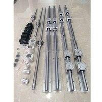 6 set SBR16 SBR20 linear guide Rail + ballscrews RM1605 SFU1605 ball screws + BK/BF12 + nut housing + couplers for CNC parts