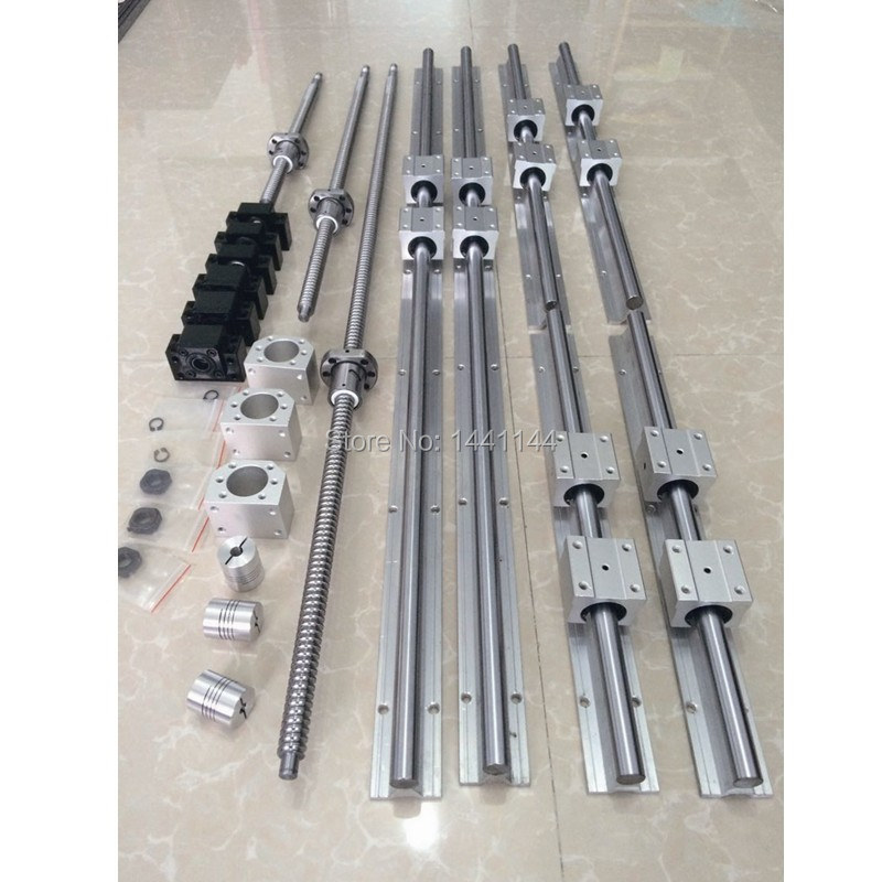 6 set SBR16 SBR20 linear guide Rail + ballscrews RM1605 SFU1605 ball screws + BK/BF12 + nut housing + couplers for CNC parts