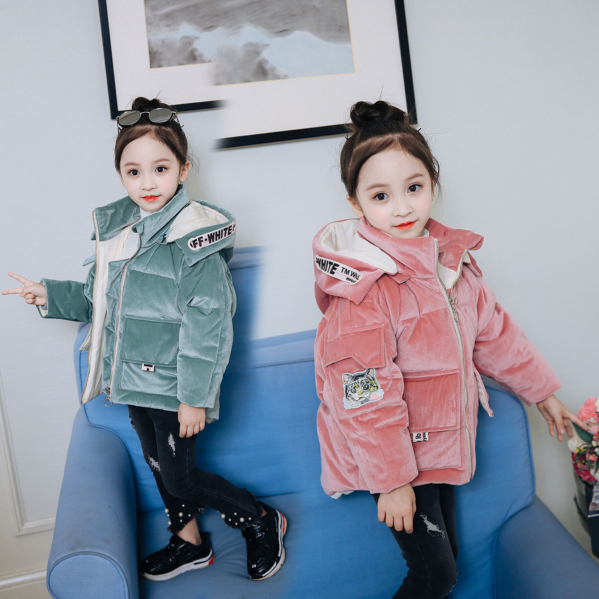 2018 Girls Winter Coats and Jackets With Detachable Hood Children Parka Autumn Winter Warm Baby Girl Clothes Age 3-4-6-8 Year children autumn and winter warm clothes boys and girls thick cashmere sweaters