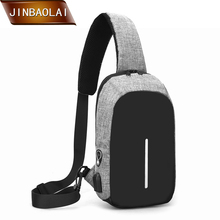 JINBAOLAI Shoulder Crossbody Bag USB Charging Chest Bags Men Burglar Stealth Zipper Design Anti-Theft Trip 2019 New Arrival