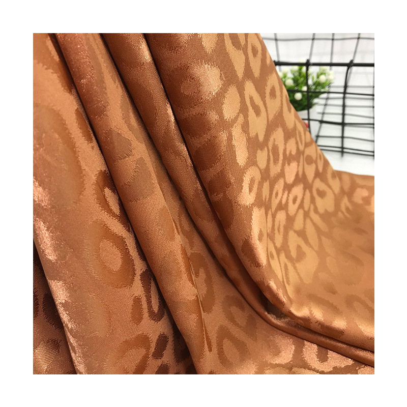 2019 New Bright Color Satin Leopard Cloth Plain Weave Satin Fabric Textile Material Shirt Cheongsam Apparel Fabric in Fabric from Home Garden