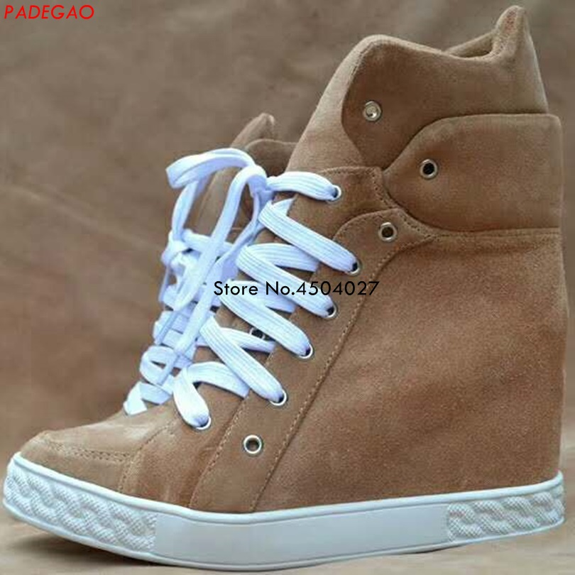New Spring Women Boots Suede Leather Wedge Platform Boots Hidden Heel Shoes High Top Shoes for Woman Ankle BootNew Spring Women Boots Suede Leather Wedge Platform Boots Hidden Heel Shoes High Top Shoes for Woman Ankle Boot