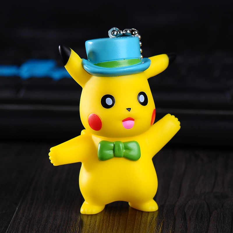Pocket monsters cartoon bonito japão anime pokemon chaveiro crianças brinquedos pikachu carro chaveiro acessórios pingente atacado