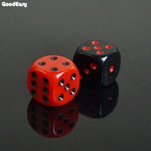 Набор для игры в покер, акриловые игральные кости 16 мм, красные/черные, питьевые цифровые игральные кости, 6 сторон