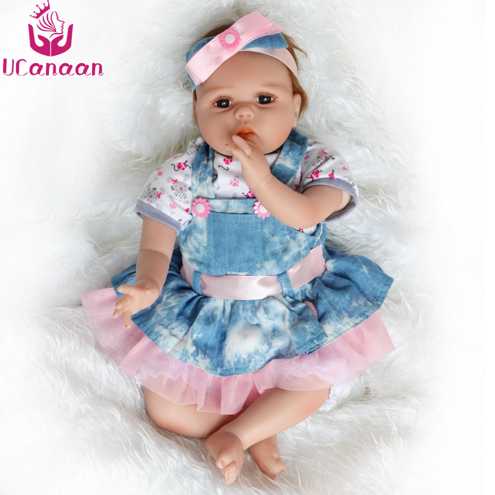 UCanaan 55CM Cloth Body Doll Reborn Soft Silicone Dolls For Girls Baby New Born Realistic Kids Toys Brinquedos Children Gifts ucanaan 55cm hair rooted cloth body reborn doll soft silicone brown eyes toys for girls baby alive new born kawaii kids toys