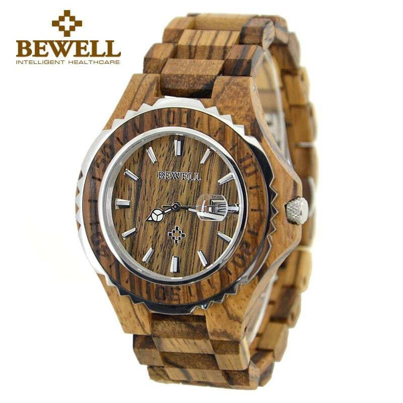 BEWELL montre en bois de santal rouge montre à Quartz analogique pour hommes calendrier complet montre-bracelet étanche relogio masculino avec boîte 100BG