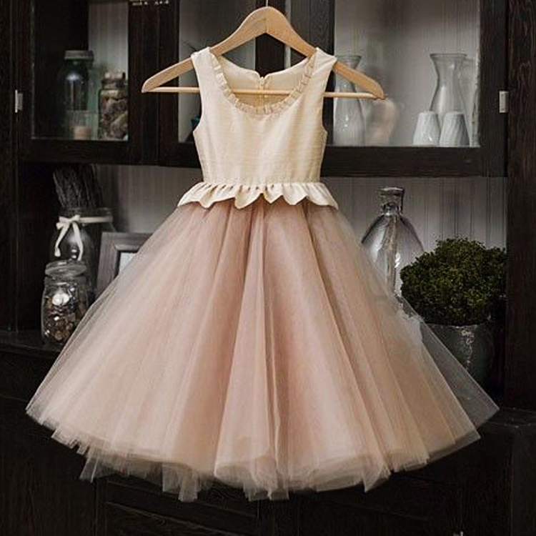 ФОТО A-line Sweet Kids Evening Gowns Ivory Bodice Flush Pink Tulle Organza Draped Flower Girls Dresses Prom Gowns For Wedding