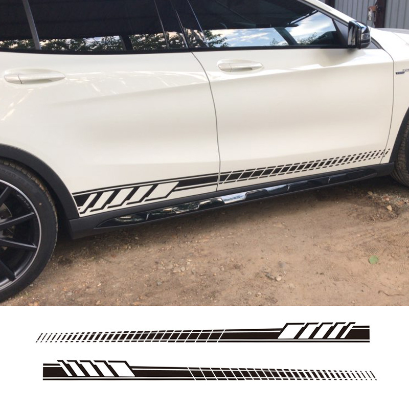 2 Pcs Car Styling Car Sticker Side Skirt Decal Sticker Body Garland For Mercedes Benz W205 Coupe C Class C63 AMG Stickers image