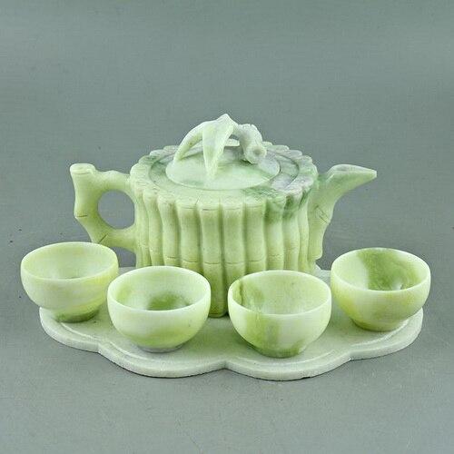 China Lantian jade carved bamboo bundle teapot four cups of tea Kung Fu