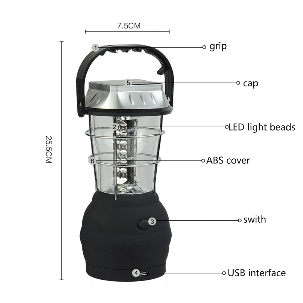 Multifunction Hand Crank Solar 36 LED Lamp Rechargeable Lamp For Outdoor Camping Hiking Fishing Tent Light Lantern