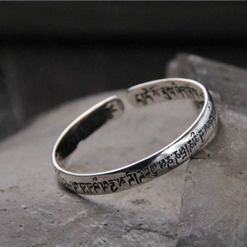 925 Bracelets en argent Sterling pour hommes et femmes Simple sanscrit lisse Six mots gravés bouddhiste prière bijoux manchette Bracelets