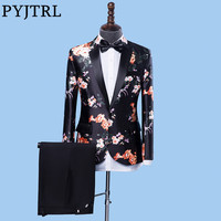 PYJTRL 2018 Wedding Groom Mens Suits Stylish Floral Print Two Piece Set Tuxedo Latest Coat Pant Designs Stage Singer Costumes