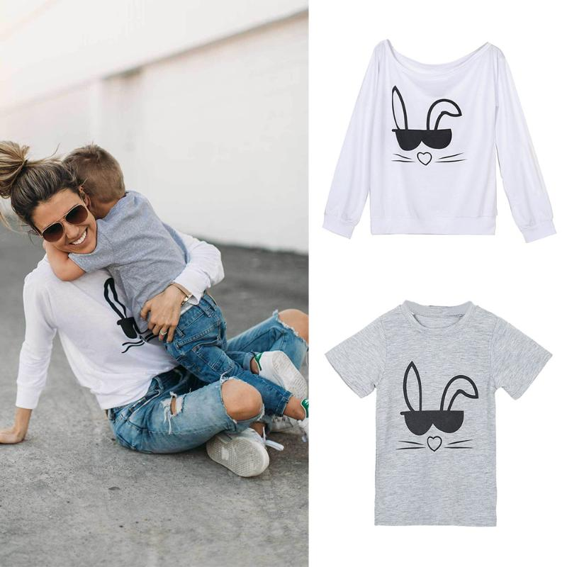 Family Matching Sweatshirt Kids Tops Mom Son Rabbit Printed T-shirt Parent-Kids Fashion Family Matching Cothes Children Clothing