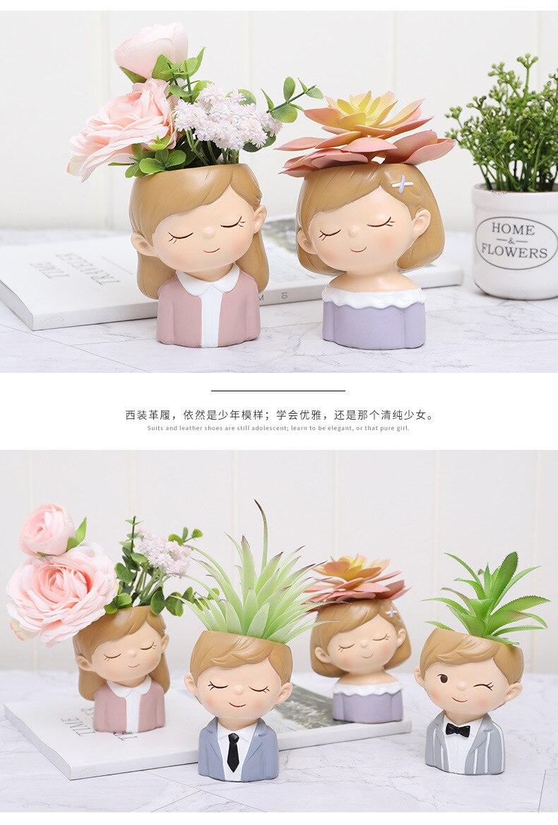 1 piece resin Flower pot Mini wedding ornament pot Cactus Planter Pots lovely Couple Succulent Plant Flowerpot for marry YXYT (12)