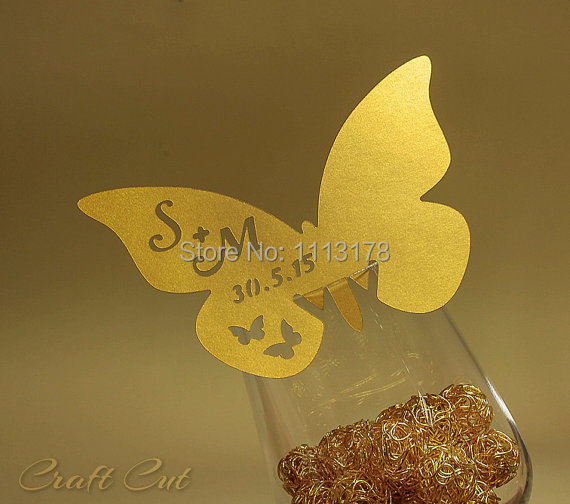 custom wine glass cards table name card Gold butterfly place card. (20+) Personalized wedding escort cards.