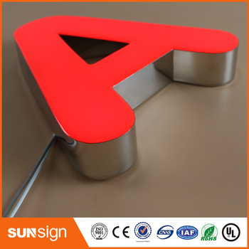 Custom illuminated sign 3d stainless steel letters with LED light